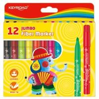Flamastry KEYROAD Jumbo, 12szt., na zawieszce, mix kolorów, Plastyka, Artykuły szkolne