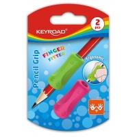 Gumka uniwersalna KEYROAD Pencil Grip, 2szt., blister, mix kolorów, Plastyka, Artykuły szkolne
