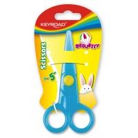 Nożyczki szkolne KEYROAD Security, 12,5cm, zaokrąglone, blister, mix kolorów, Nożyczki, Drobne akcesoria biurowe