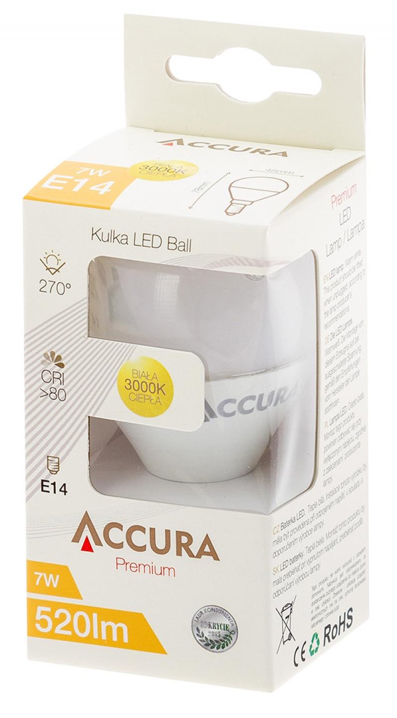 Żarówka LED ACCURA Premium, kulka, E14, 7W, Żarówki, Urządzenia i maszyny biurowe
