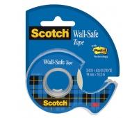Taśma klejąca SCOTCH® Wall-Safe, bezpieczna dla ścian, na podajniku, 19mm, 16,5m, transparentna, Taśmy biurowe, Drobne akcesoria biurowe