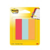 Zakładki indeksujące POST-IT® (671-PBO), papier, 22,2x73mm, 3x50 kart., mix kolorów, Bloczki samoprzylepne, Papier i etykiety
