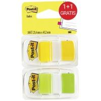 Zestaw zakładek indeksujących Post-it® (6923SP-45PO), pp, 25,4x43,1mm, 2x50 kart., żółty/zielony, Bloczki samoprzylepne, Papier i etykiety