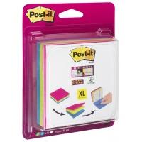 Karteczki samoprzylepne POST-IT® Super Sticky XL w linię (4470-XLES), 101x101mm, 3x70 kart., mix kolorów, Bloczki samoprzylepne, Papier i etykiety