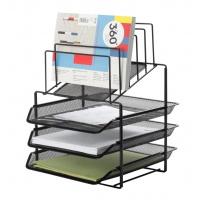 Zestaw na biurko Q-CONNECT Office Set, metalowy, z sorterem dokumentów, 3 szufladki, czarny, Szufladki - zestawy, Drobne akcesoria biurowe