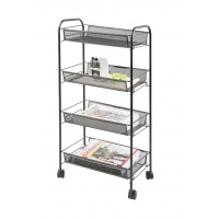 Mobile document rack Q-CONNECT Office Set, metal, wheeled, 4 tiers, black