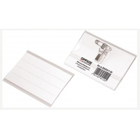 Name-Badge OFFICE PRODUCTS, with a clip and a pin, side-open, soft, transparent