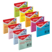 Bloczek samoprzylepny OFFICE PRODUCTS, 76x76mm, 1x100 kart., pakowane na displayu, neon/pastel, mix kolorów, Bloczki samoprzylepne, Papier i etykiety