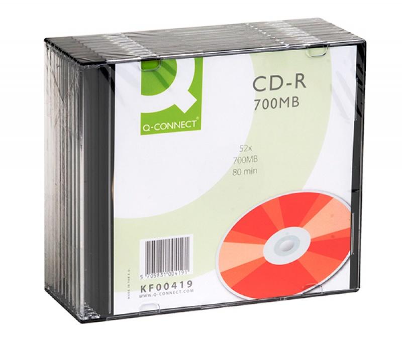 Płyta CD-R Q-CONNECT, 700MB, prędkość 52x, 10szt., Nośniki danych, Akcesoria komputerowe
