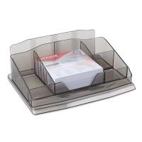 Przybornik na biurko OFFICE PRODUCTS, z karteczkami, plastik, dymny, Przyborniki na biurko, Drobne akcesoria biurowe