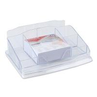 Przybornik na biurko OFFICE PRODUCTS, z karteczkami, plastik, transparentny, Przyborniki na biurko, Drobne akcesoria biurowe
