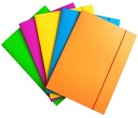 Elasticated File OFFICE PRODUCTS, cardboard, lacquered, A4, 300 gsm, 3 flaps, assorted colors