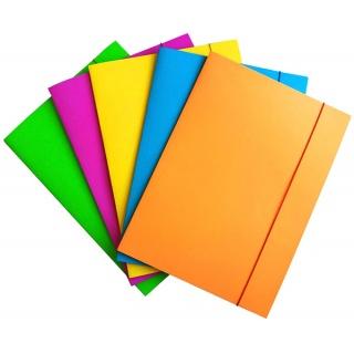 Teczka z gumką OFFICE PRODUCTS Fluo, karton/lakier, A4, 300gsm, 3-skrz., mix kolorów, Teczki płaskie, Archiwizacja dokumentów