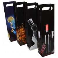 Bottle Gift Bag OFFICE PRODUCTS, laminated, 12x8x41,5cm, with handle, assorted designs