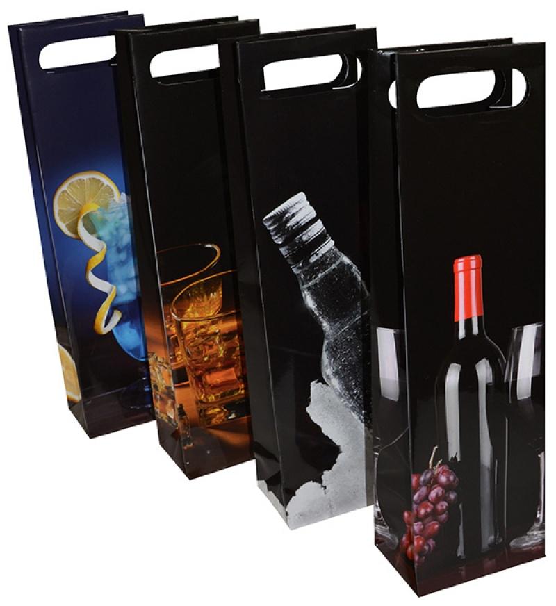 Torebka na alkohol OFFICE PRODUCTS, laminowana, 12x8x41,5cm, z rączką, mix wzorów, Produkty kreatywne, Artykuły szkolne