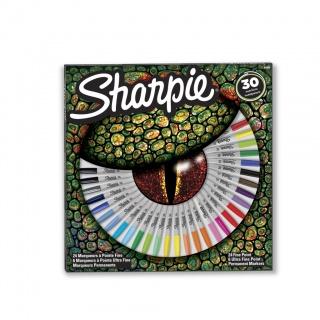 ZESTAW MARKERÓW KREATYWNYCH SHARPIE MIX 24 CIENKIE + 6 ULTRACIENKIE GRATIS, Markery kreatywne, Artystyczne