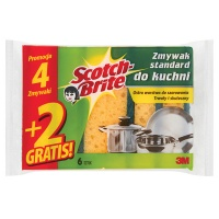 Gąbka do zmywania SCOTCH BRITE, uniwersalna, do trudnych zabrudzeń, 4+2szt., żółta, Akcesoria do sprzątania, Artykuły higieniczne i dozowniki
