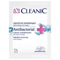 Chusteczki odświeżające CLEANIC Antybacterial, saszetka, białe, Akcesoria do sprzątania, Artykuły higieniczne i dozowniki