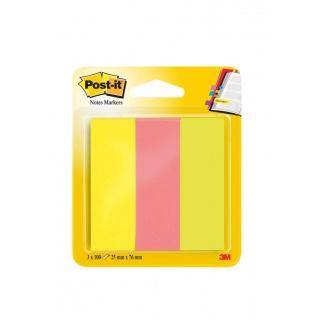 Zakładki indeksujące POST-IT® (671/3), papier, 25x76mm, 3x100 kart., mix kolorów, Bloczki samoprzylepne, Papier i etykiety