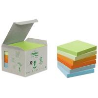 Bloczki ekologiczne POST-IT® (654-1GB), 76x76mm, 6x100 kart., mix kolorów, Bloczki samoprzylepne, Papier i etykiety