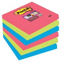Bloczki samoprzylepne POST-IT® Super Sticky (654-SSJP-P5+1), 76x76mm, 5x90 kart., paleta Bora Bora, 1 bloczek GRATIS, Bloczki samoprzylepne, Papier i etykiety