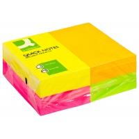 Bloczek samoprzylepny Q-CONNECT Rainbow, 127x76mm, 4x3x80k, neon, mix kolorów, Bloczki samoprzylepne, Papier i etykiety