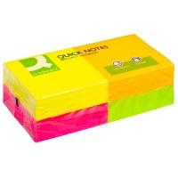 Bloczek samoprzylepny Q-CONNECT Rainbow, 76x76mm, 4x3x80k, neon, mix kolorów, Bloczki samoprzylepne, Papier i etykiety