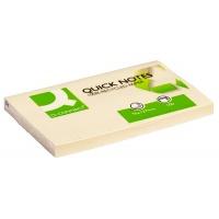 Bloczek samoprzylepny Q-CONNECT Recycled, 127x76mm, 100 kart., żółty, Bloczki samoprzylepne, Papier i etykiety