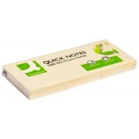 Bloczek samoprzylepny Q-CONNECT Recycled, 38x51mm, 3x100 kart., żółty, Bloczki samoprzylepne, Papier i etykiety