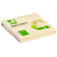 Bloczek samoprzylepny Q-CONNECT Recycled, 76x76mm, 100 kart., żółty, Bloczki samoprzylepne, Papier i etykiety