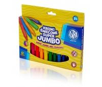 Kredki świecowe super Jumbo 12 kolorów - 14mm /100mm, Plastyka, Artykuły szkolne