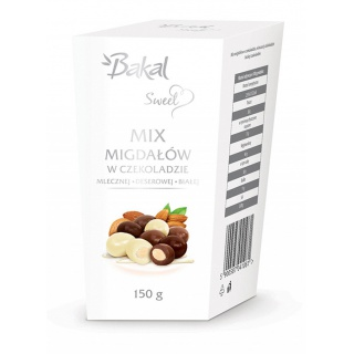 Migdały w czekoladzie mlecznej, deserowej i białej BAKAL Sweet, 150g, Przekąski, Artykuły spożywcze