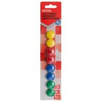 Magnesy do tablic OFFICE PRODUCTS, okrągłe, średnica 20mm, 8szt., blister, mix kolorów, Bloki, magnesy, gąbki, spraye do tablic, Prezentacja