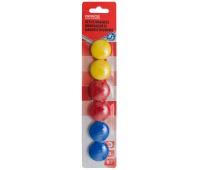 Magnesy do tablic OFFICE PRODUCTS, okrągłe, średnica 30mm, 6szt., blister, mix kolorów, Bloki, magnesy, gąbki, spraye do tablic, Prezentacja