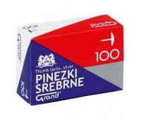 PINEZKI GRAND S100 SREBNE /1 OP-100szt, Pinezki, Drobne akcesoria biurowe